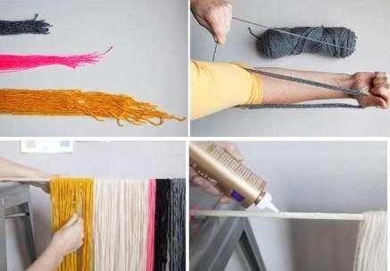 Шаг 1: Нарезаем нитки разной длины, причем каждый цвет нитей имеет свою длину. В нашем случае длинная нить была 60 см, а короткая – 30.