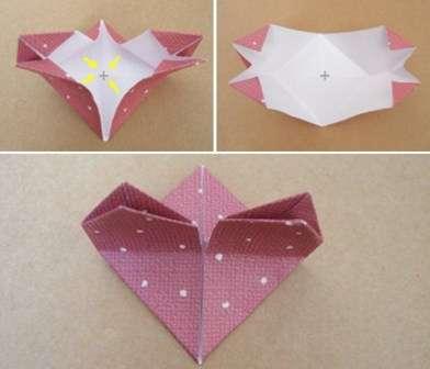 Не обязательно делать сложные поделки в форме сердца. Попробуйте также из прямоугольника сделать простое сердце своими руками. Для этого вам нужно просто правильно сложить бумагу. Поделка делается в течение нескольких минут.