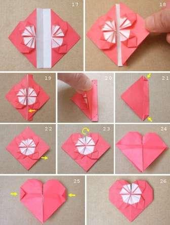 Теперь приступите к работе с уголками этих треугольников. Возьмите один уголок и слегка на него надавите, чтобы получится маленький ромбик. Нижние края согните к центру ромбика и расправьте их как на фото.