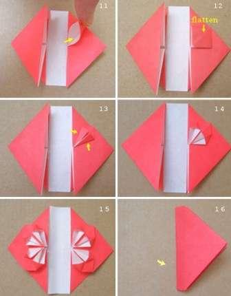 Для того чтобы сделать сердце вам нужен будет прямоугольный лист бумаги. Сначала загните уголки, они должны полностью коснуться нижнего края. Потом распрямите и повторите загиб с другой стороны. В итоге у вас прямоугольник разделится на ромб и треугольники.