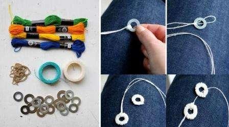 Шаг 1: Берется длинная нить, складывается пополам, продевается через кольцо, образуя петельку. Нить закрепляется на кольце, когда просовывается через полученную петлю.