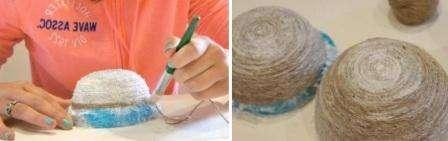Шаг 4: От приклеенного диска начинаем наматывать новую нить по кругу, по форме чашки. Нить хорошо промазываем клеем, для надежного скрепления. Нить наматываем не до самого конца чашки, оставив около 3 см снизу.