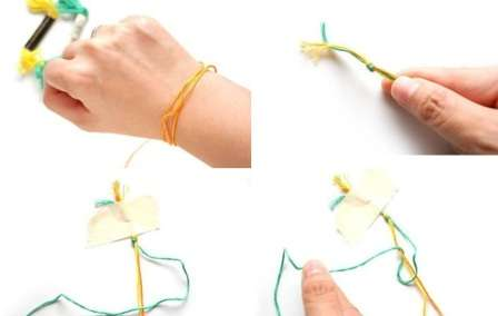 Берете нити 2-х цветов. Длина каждой нити должна быть больше длины провода в 3 раза. Привязываете концы нитей к проводку.