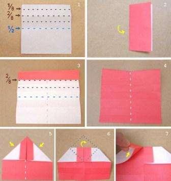 Вырежьте квадрат из розовой или красной цветной бумаги. Сложите его пополам, а потом разложите и разделите одну половину на четыре равные полоски. Их можно нарисовать простым карандашом, чтобы в дальнейшем было легче складывать бумагу, и готовая поделка получилась ровной.