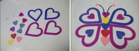 Попробуйте наклеить с помощью сердечек бабочку на лист бумаги.