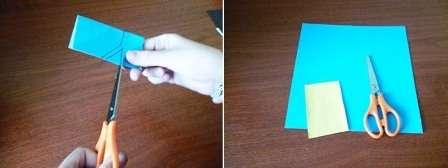 Из синей цветной бумаги подготовьте прямоугольник со сторонами 6 и 3 см. Далее сложите его пополам.</p> <p> Нарисуйте на нем контуры штанов для миньона, вырежьте по намеченной линии. Раскрыв деталь, мы получаем джинсовые штанишки для нашей поделки.» width=»448″ height=»168″/></p></div> </p> <p>Шаг 3. Возьмите желтую деталь – заготовку и приклейте на нее полученные штаны синего цвета.</p> <p> Тщательно разгладьте приклеенные детали.</p> <p> Так мы одели нашего друга.</p> <p><div style=