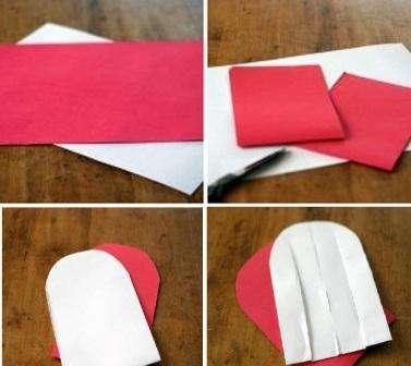 Если вы не хотите долго возиться со складыванием бумаги, то попробуйте сделать плетёное сердце. Для этого вам понадобится цветная бумага двух цветов. Возьмите листы размера А4, сложите каждый из них пополам, а потом переверните и сложите ещё раз. Разрежьте так, чтобы получились длинные и узкие прямоугольники шириной около 15 см.