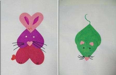 У вас может получиться необычная мышка. Даже зайчик или котенок смогут украшать вашу сердечную аппликацию.