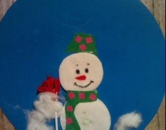 Аппликация снеговик из ватных дисков. Фото. МК