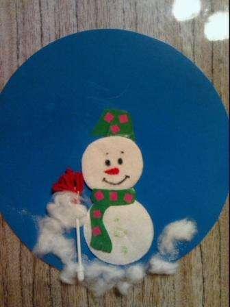 Снеговик из ладошек своими руками пошагово