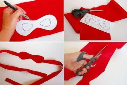 Яркая повязка поможет превратиться вашему ребёнку в настоящего супергероя во время увлекательных игр и детских фантазий.</p> <p> Простую маску дети смогут сделать самостоятельно. Для этого понадобится ткань, ножницы, карандаш и бумага.» width=»448″ height=»299″/></p></div> </p> <p>Сначала нарисуйте на бумагу маску и примерьте её на глаза для того, чтобы в ней было хорошо все видно.</p> <p>После этого переносите шаблон маски на ткань.</p> <p> Лучше всего использовать фетр, так как у данного материала не нужно обрабатывать края.</p> <p> Сначала вырезайте контур маски, а затем отверстия для глаз.</p> <p><div style=