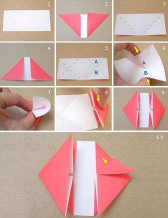 Если вам нравится техника оригами, вы можете освоить новую схему, как делать сердце из бумаги. На фото поделка выполнена из цветной бумаги, но если у вас есть специальная бумага для оригами или цветная офисная, то лучше использовать её, чтобы не было видно белой стороны.