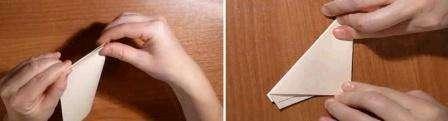 Получившийся треугольник необходимо сложить пополам и затем обрезать «хвосты». Таким способом легко получить идеально ровную заготовку для вырезания снежинки. Вы можете попробовать сложить лист каким-то другим методом.