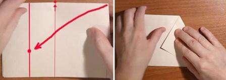 Верхний уголок вам нужно загнуть так, как показано на фото. Должна получиться весьма необычная фигура. Точно также загните угол с другой стороны листа.