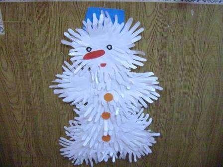 Делаем снеговика из ладошек в детском саду. Мастер-класс