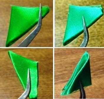 Эта ёлочная игрушка выполняется из всё тех же треугольничков, однако их нужно немного «усовершенствовать»