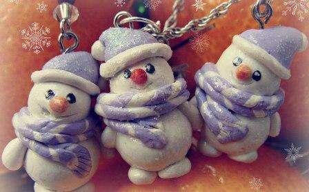 как сделать Снеговик из глины полимерной своими руками