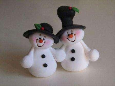Снеговики из полимерной глины, фото