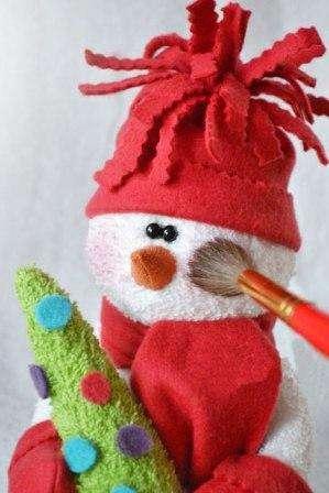 Слегка окуните кисточку в румяна и припудрите снеговичку щечки