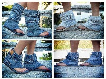 Летние сапожки из старых джинсов своими руками