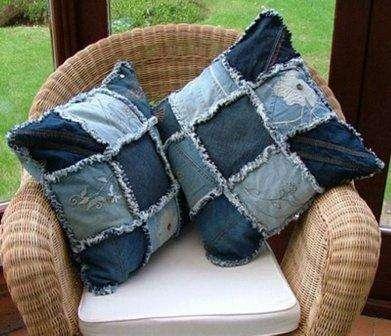 Подушки из старых джинсов своими руками