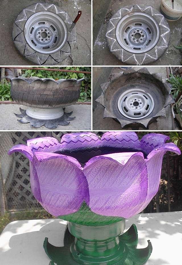 Для того чтобы превратить шину в красивый вазон для цветов, придется приложить немного усилий. Аккуратно сделайте надрезы на поверхности покрышки, а потом выверните ее наизнанку. Если покрасить такую емкость, то она гармонично впишется в дизайн вашего участка.