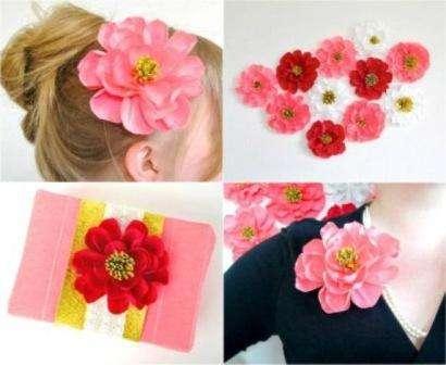 Цветы достаточно часто используют для изготовления украшения для волос и одежды. Если вам нужен красивый аксессуар на один вечер, вы можете сделать его из гофробумаги в любом цветовом решении.