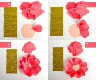 Отдельно возьмите бумагу желтого или золотого цвета, нарежьте ее на более длинные полоски для того чтобы сделать тычинки.