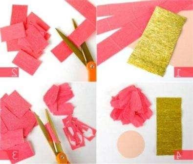 Сначала вам нужно будет нарезать гофрированную бумага на полоски шириной 3-4 см. Потом вы будете разрезать её на прямоугольники для того чтобы делать лепесточки.