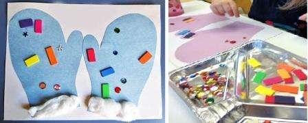 Из цветной бумаги ребенок может вырезать варежки, которые потом нужно наклеить на картон. Украсить варежки можете бумажными треугольничками или кружочками. Если есть наклейки из любимых мультфильмов, то пусть ваш ребенок их наклеит на варежки.