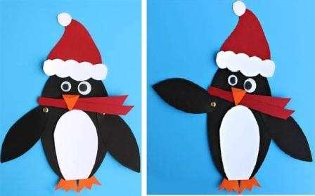 Попробуйте сделать веселого пингвинчика. Сначала найдите подходящие заготовки, а потом перенесите их на картон. Каждую деталь нужно вырезать отдельно. Потом приклейте основные детали, а те, что должны двигаться, закрепите гвоздиками.