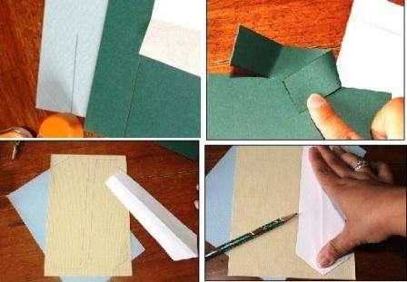 Сделать открытку для папы в виде рубашки могут даже дети. Если у вас есть цветной картон, попробуйте из него вырезать сначала прямоугольник. В верхней части придется сделать надрез шириной около 2 см – это будет воротник. Вам нужно будет обрезать лишние края полосок с двух сторон.
