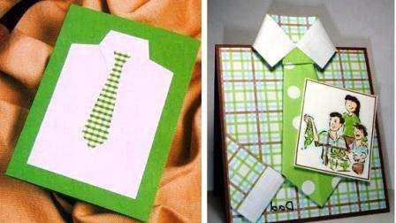 Открытка – это лучший способ выразить свои чувства, эмоции и написать красивые слова.</p> <p> Существует несколько вариантов, как сделать открытку в виде рубашки. Вы можете использовать плотный картон для того, чтобы сделать основу для открытки.» width=»448″ height=»252″/></p></div> </p> <p>Сверху придется приклеить на него квадрат бумаги другого цвета для того, чтобы сымитировать рубашку.</p> <p> Не забудьте о рукавах и воротнике. Галстук желательно подбирать в тон рубашки или контрастный.</p> <p> Вырезайте выступающие детали из плотной бумаги и приклеивайте к основанию.</p> <p><div style=