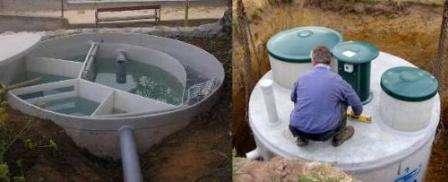 Многокамерный. Как правило, оборудуется для создания общей канализации нескольких домовладений. Это обусловлено его высокой ценой. Внутри септик разделен на несколько камер, где сточные воды перетекают из одного раздела в другой, при этом подвергаясь разложению бактериями. После такой обработки стоки могут отводиться напрямую в водоем либо использоваться в хозяйстве.