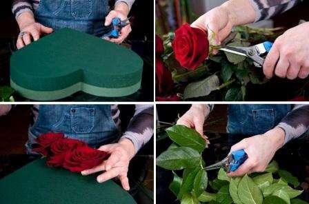 Купите в магазине розы, так как они дольше сохранят свою форму, чем садовые цветы. Обрежьте стебель так, чтобы осталось от пестиков около 3 см. Длина стебля также зависит от толщины оазиса. Если вы делаете маленькую композицию, можно оставить около 2 см стебля. Срез должен быть наискосок, так как в таком случае розы лучше впитывают влагу.