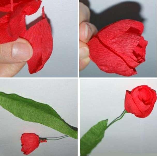 Как сделать из гофрированной бумаги тюльпаны своими руками 57
