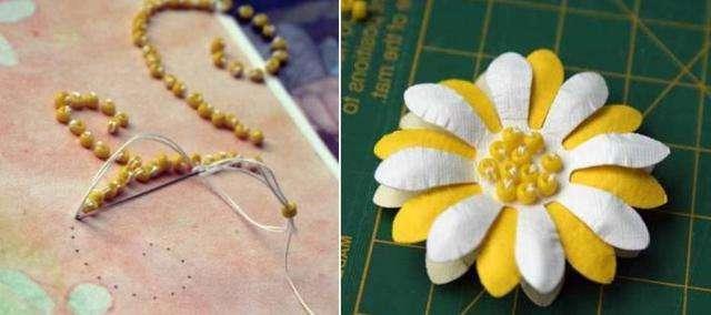 Бисер можно применять для декорации открытки, на которой прикрепляется цветок.