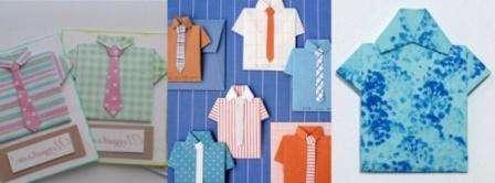 сли вы владеете навыками оригами, попробуйте сложить рубашку из бумаги. Потом изделие можно использовать для украшения открытки.
