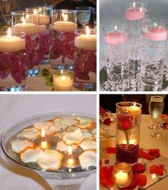 упите красивые свечи, поместите их в воду, дополните композицию лепестками ро