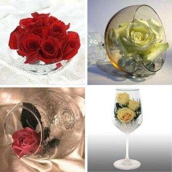 Наберите в бокал, колбу или красивый стакан воды, добавьте лепестки цветов и поставьте сверху бокала подожженную свечку
