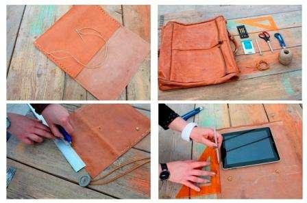 Обведите планшет карандашом для того, чтобы отрезать кусок кожи для чехла. После того как заготовка будет готова, ее нужно будет прошить толстой ниткой. Для декора используйте большую пуговицу на кожаной тесьме.