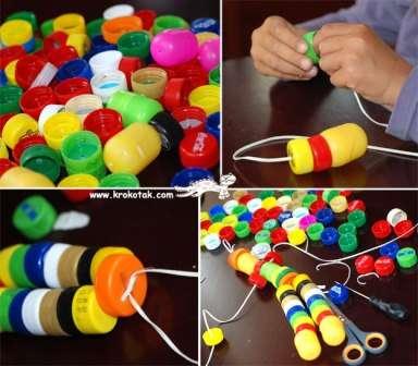 Идея № 3. Поделка из пластиковых пробок - человечек