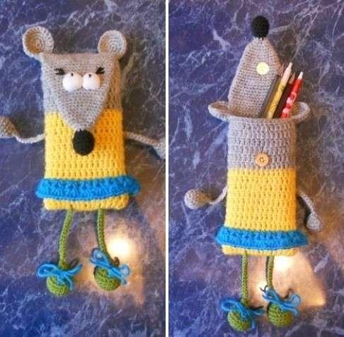 Вот и все. Веселый и чрезвычайно необычный пенал-мышка готов. Ребенок будет неописуемо доволен