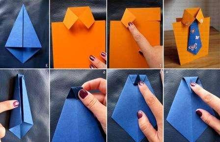 Рукоделие – это не просто способ проведения досуга, но и отличная возможность сделать необычные подарки для любимого мужчины, папе, дедушке или другу. Попробуйте своими руками изготовить бумажную рубашку с галстуком или объемную открытку.