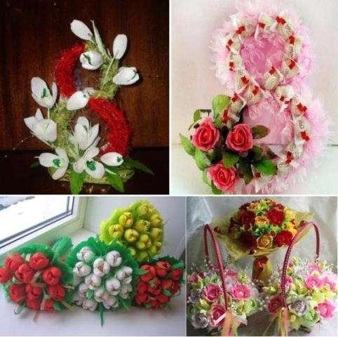 Подарки на 8 марта букет из конфет