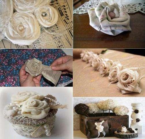 Розы из мешковины льна или домотканого материала