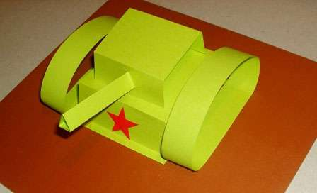 Бумажный танк своими руками, поделка для детей