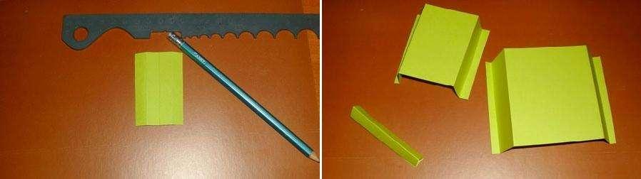 Выполняем треугольную форму дула. Для этого выполняем надрезы по краям и склеиваем деталь.