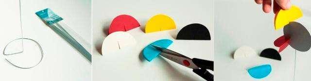 Из цветной плотной бумаги вырезаем шесть кругов. Каждый кружок должен иметь диаметр примерно в семь сантиметров