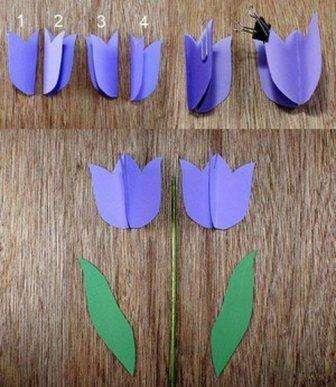 Если хотите чтобы стебелек хорошо держал бутон, возьмите деревянную шпажку, обмотайте её флористической лентой или покрасьте зеленой краской. Дождитесь полного высыхания краски, при этом стебли можно вставить в землю или в пенопласт. Когда стебель будет готов, можете приступить к приклеиванию бутона. Для этого вложите шпажку в склеенные бутоны, а потом приклейте еще одну часть цветка.